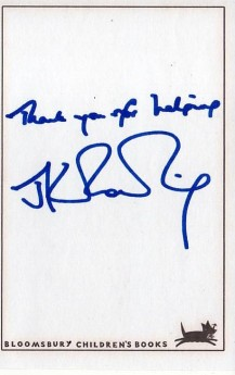 Lot 98 JK ROWLING SIGNED BOOK PLATE